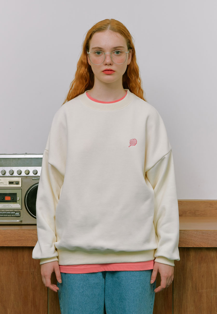 BACK POINT MIX LOGO SWEAT-SHIRT[CREAM]